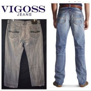 VIGOSS Gray Wash Relaxed Boot Cut Jeans 36x33